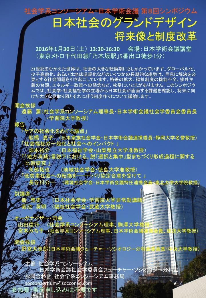 社会学系コンソーシアム・日本学術会議 第8回シンポジウム「日本社会のグランドデザイン 将来像と制度改革」