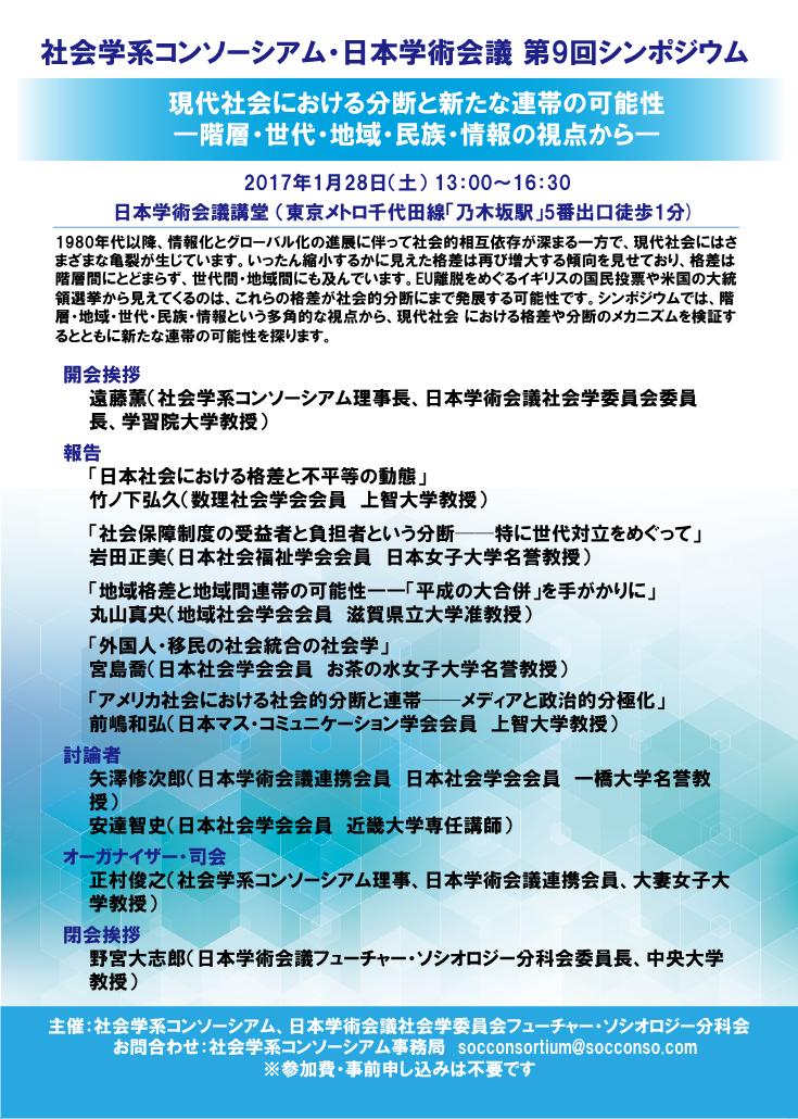 2017年1月28日日本学術会議 公開シンポジウム「現代社会における分断と新たな連帯の可能性」